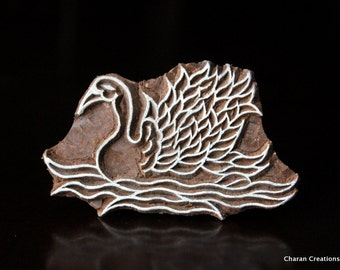 ON SALE Indian Wood Block Stamp, Tjaps, Hand Carved stamp, Pottery stamp, Textile Stamp, Printing Blocks- Swan