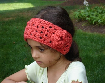 Coral Boho Style Crochet Headwrap / Headband / Earwarmer READY TO SHIP New Item