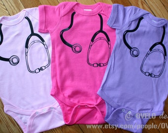 Stethoscope Bodysuit for your Medical Professional, Doctor, Nurse, EMT Girly Colors ONE BODYSUIT