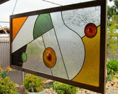 Large Abstract Earth Tones Stained Glass Window