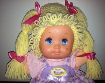 Cabbage Patch Kid Style Crocheted Yellow Blond Wig Hat Halloween Costume for Baby Girls Size Newborn to 12 Months