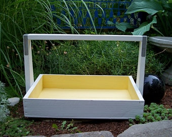 Spring Decor Wood Garden Tote, Yellow and White Painted Berry Flat, Harvest Basket, Organizer