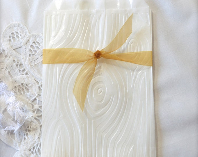 Embossed Woodgrain, Glassine Favor Bags, Faux Bois, Candy Bar, Etsy Merchandise, Gift Bags set of 10
