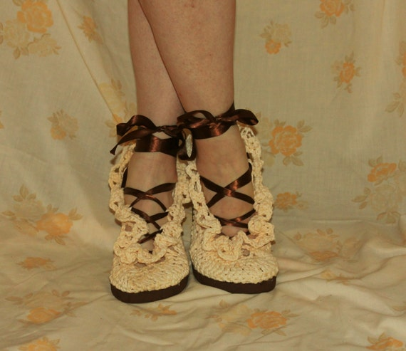 Crochet Sandals Pattern----STREET SHOES-----Lacey Gypsy Summer Sandals-----style number 1-----so pretty and feminine------wear them outdoors