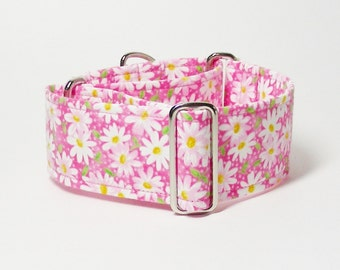 White Daisies on Pink, Martingale Collar, Sighthound Collar, Greyhound Martingale, Whippet Collar, Hound Collar, Daisy Collar, Pink Collar