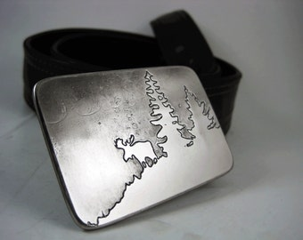 Grazing Moose Belt Buckle - Etched Stainless Steel - Handmade