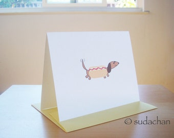 Dachshund Dressed as Hot Dog Note Cards - Red/Brown (set of 10)