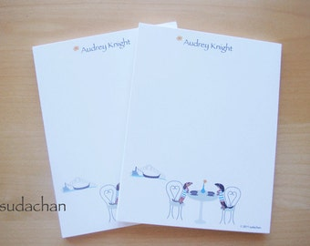 Personalized Notepads - Dachshunds in Venice Cafe (set of 2)