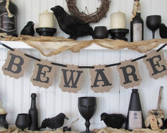 BEWARE Halloween Banner, Beware sign, Haunted House, Halloween Sign, Fall Decoration,