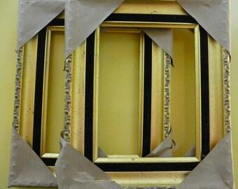 SALE/ 2 FRAMES/Velvet and Gold Frames/ Vintage Frames/ Ornate Detail and Black Velvet