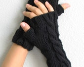 Black Cable Knit Fingerless Gloves