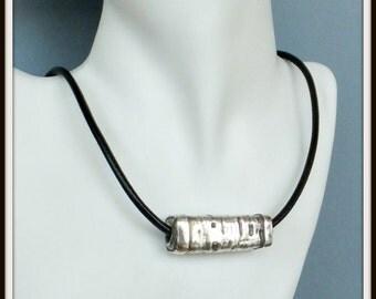 OOAK Artisan fine silver square tube bead black leather cord man woman