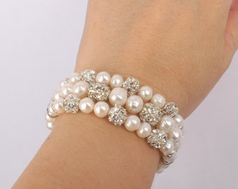 Hailey - Freshwater Pearl and Rhinestone Bridal Bracelet
