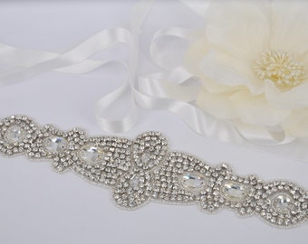 Paris - Vintage Style Rhinestone Crystals Wedding Belt, Sash
