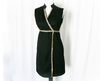 Vintage 60s Mini Dress S M Black Metallic Beaded Sequined Trim Upcycled