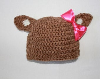 Crocheted Doe Hat by Knittin' Around Lady