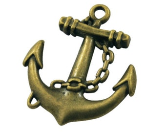 Bronze Charms : 10 Antique Bronze Boat Anchor Charms | Brass Ox Anchor Pendants | Anchor Connector ... Lead, Nickel & Cadmium Free 63353.J1A