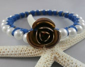 Antique Rose and Pearl Blue Accented Bangle Bracelet