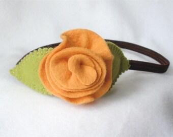 Stretch Elastic Headband, Handmade Felt Flower Hairband,  Brown and Pumpkin Wool Felt Rose