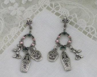 DAY of the DEAD - EARRINGS - Sugar Skull and Coffin - Fleur de Lis Dangle Earrings