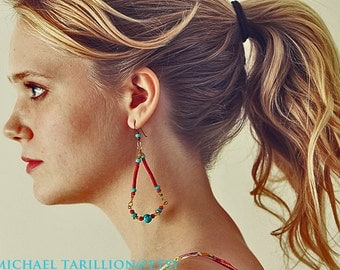Michael  Tarillion Bohemian, Hippie, dangle   copper coil Vintage turquoise glass beaded earring FREE SHIPPING USA