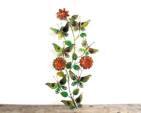 vintage metal flower and butterfly wall hanging by. Black Bedroom Furniture Sets. Home Design Ideas