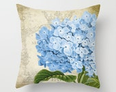 Throw Pillow Cover - Blue Flower on Vintage Ephemera - 16x16, 18x18, 20x20 - Pillow case Original Design Home Décor by Adidit