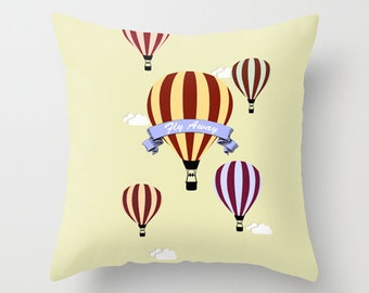 Throw Pillow Cover - Hot Air Balloons Fly Away - 16x16, 18x18, 20x20 - Nursery Bedroom Original Design Home Décor by Adidit