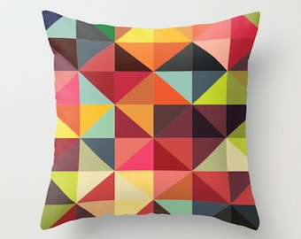Throw Pillow Cover Triangles - Multicolor - 16x16, 18x18, 20x20 - Bedroom Living Room Original Design Nursery Baby Art Home Décor by Adidit