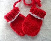 Baby Mittens Thumbless Hand Knit  in Sizes Newborn to 18 Months