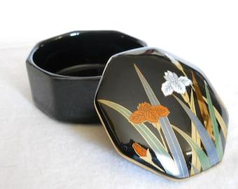 Otagiri Porcelain Trinket Box - Vintage Oragiri Jewelry Accessory - Black Porcelain Ring Holder