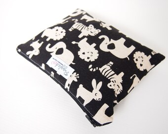 Small Zippered Wet Bag Pouch with Waterproof Lining - Black Zoo Animals