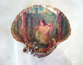 Sirens Mermaids Vintage Bath Large Shell Jewelry Dish