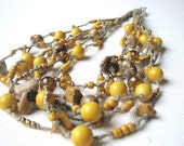 Mustard Honey Summer Sunny Gold  - linen necklace - GreyHeartOfStone