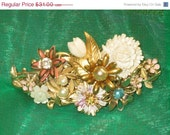 25% OFF SALE OOAK pink assorted flowers and faux pearl covered repurposed vintage collage barrette  for wedding