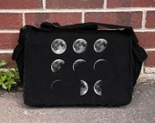 Moon Phases Messenger Bag - Screen Printed Cotton Canvas Messenger Bag - Black