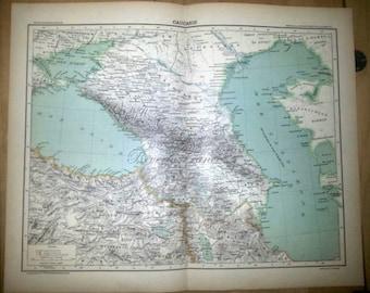 Antique Map of Caucasia The Caucasus 1890 Large Map of Caucasus 18 by 14 inches