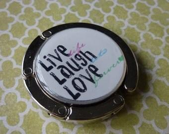 Foldable Purse Hook Live Laugh Love