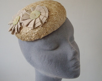 Natural Straw Hat with Ribbon Rosettes and Mother-of-Pearl Buttons