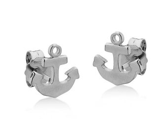 Tiny Anchor Stud Earrings Sterling Silver 925 Nautical Jewelry Minimalist Everyday Posts
