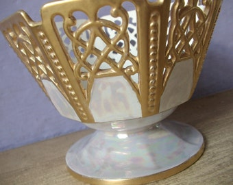 Antique Victorian RMR Max Roesler Bavaria gold candy dish, reticulated lustreware bowl,  Bavaria porcelain, Pittsburgh