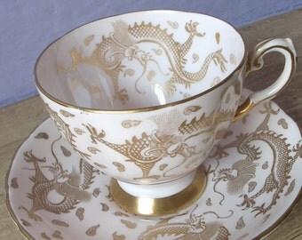 Antique Tuscan gold dragons tea cup set, English tea cup and saucer, bone china tea cup, gold tea cup