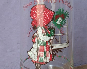 Vintage 1980's Holly Hobby Merry Christmas drinking glass tumbler, Have a Happy Holiday, red white green decor, Coca cola collectible glass
