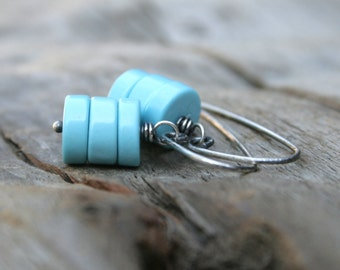 Sky Blue Stacked Turquoise Gemstone Earrings.  Hand Forged Sterling Silver Ear Wires.  Summer Jewelry Earrings.