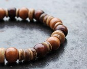 Fundraising Bracelet for High River Flood Relief. Unisex Mixed Wood & Coconut Beaded Stretch Bracelet
