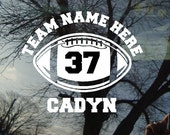 Vinyl Car Window Decal 5.5h x 6w - Football with number Personalized Football Team Decal with Team Name and Student'sName
