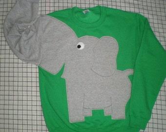 Green Elephant sweatshirt, elephant shirt, trunk sleeve elephant sweater, adult size extra Large, Emerald Green, halloween costume