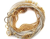 Gold Chain and Pearl Leather Wrap Bracelet- Necklace with golden beads