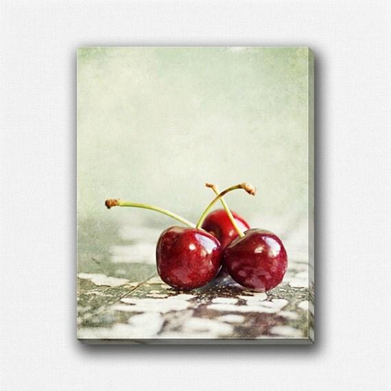 Https Etsy Com Listing 125932174 Cherries Gallery Wrap Kitchen Decor Food