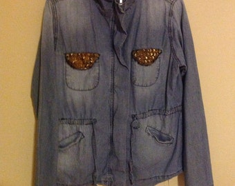 Denim Jacket with studded pockets